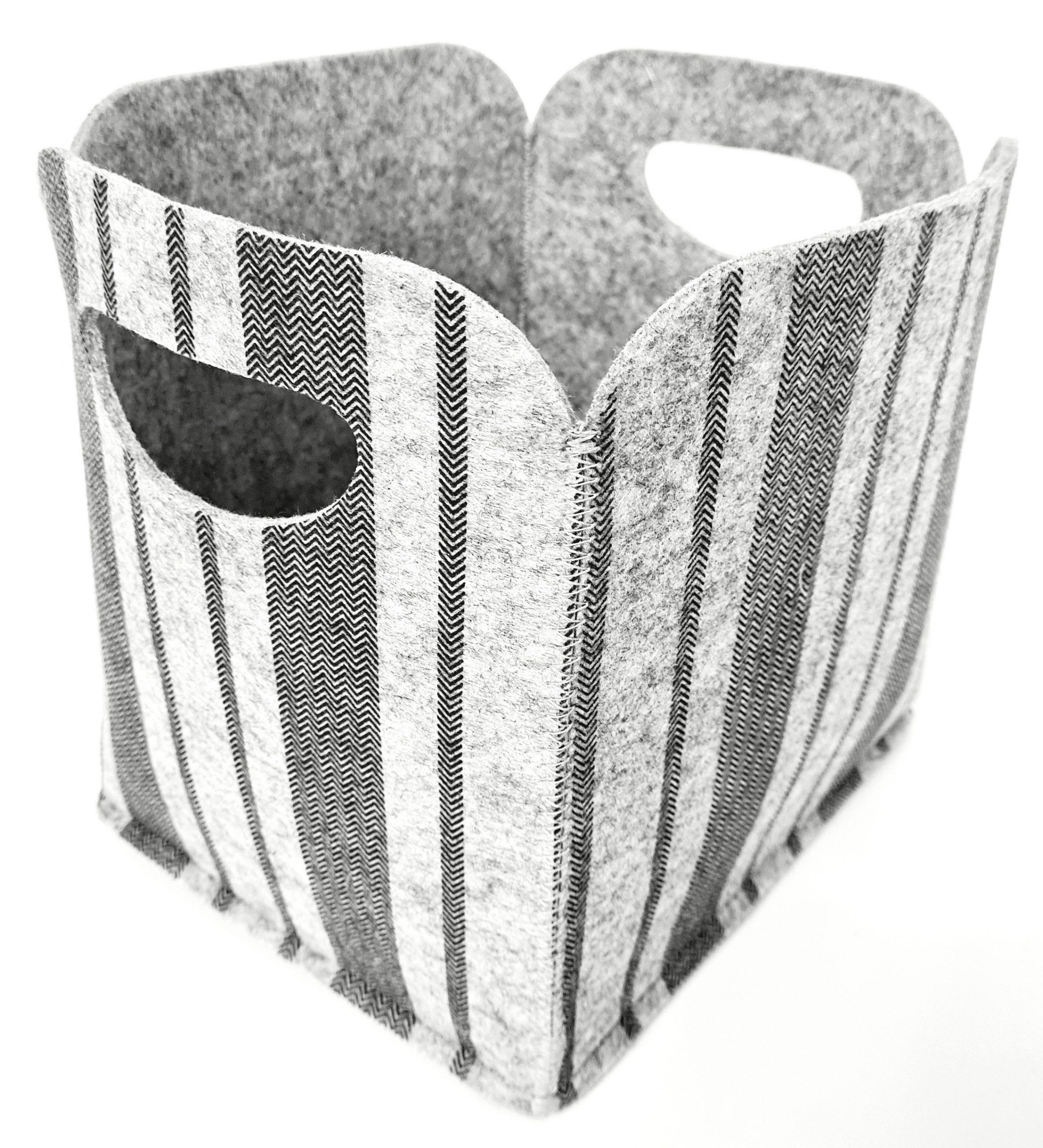 Hellgraue mit grauem Muster Filzbox - Handgemachte individualisierbare Taschen, Körbe, Tischsets, Dekoartikel und mehr auf fideko.de der Onlineshop seit 2011