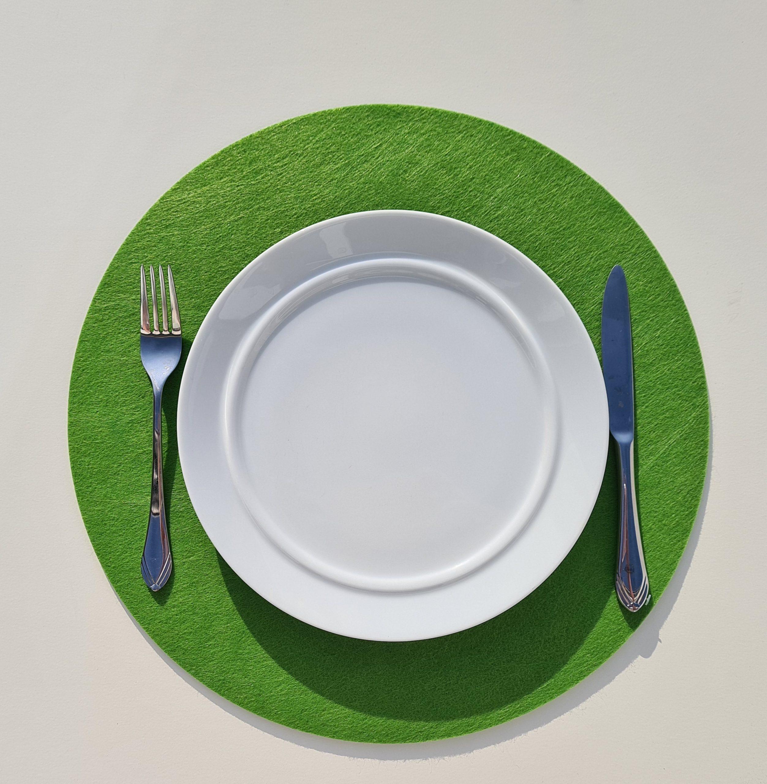 Grüner Filz-Untersetzter rund mit Teller und Besteck - Handgemachte individualisierbare Taschen, Körbe, Tischsets, Dekoartikel und mehr auf fideko.de der Onlineshop seit 2011