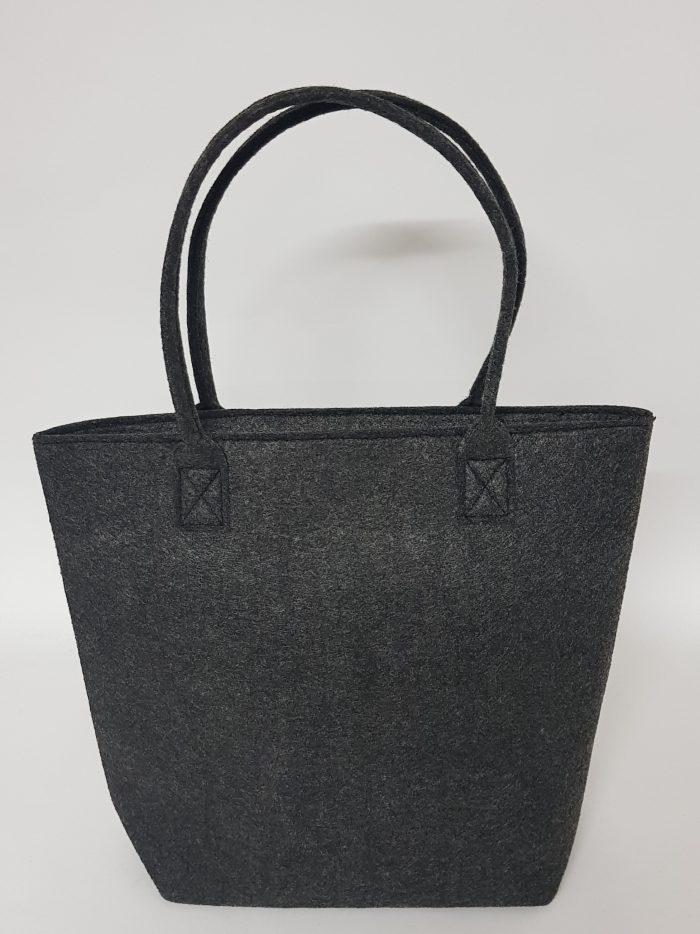 Tasche-Claudia in anthrazit aus Filz - Handgemachte individualisierbare Taschen, Körbe, Tischsets, Dekoartikel und mehr auf fideko.de der Onlineshop seit 2011